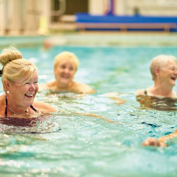 Older ladies in aqua class