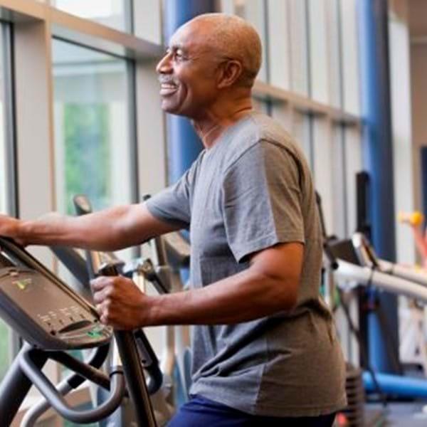 Happy man exercising