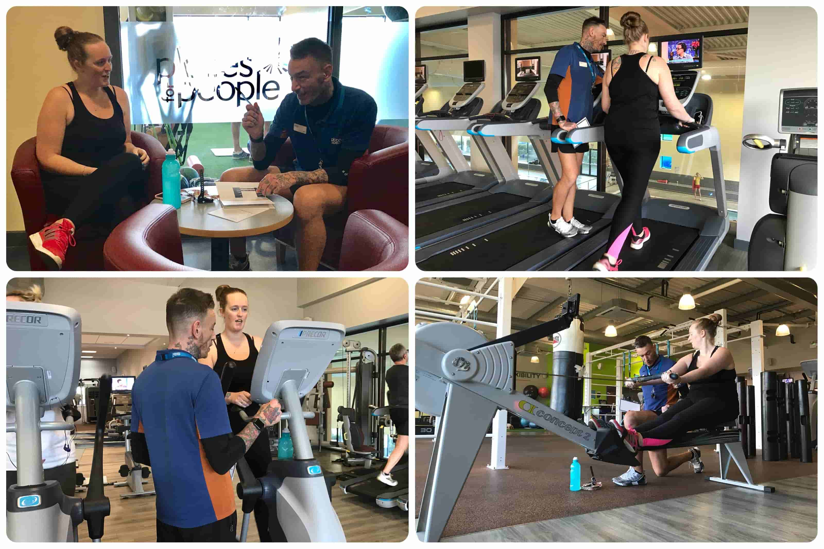 montage of photos showing john & layla working out